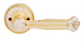 Ручка дверная на розетке RDА Genova золото/белый лак