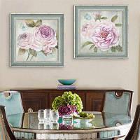 Специальная конструкция Каркасные картины Большая розовая цветочная печать 2PCS 16 x 16 дюймов (40cм x 40cм)