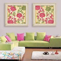 Специальная конструкция Картины Картины Чистые и свежие цветы Печать 2PCS 16 x 16 дюймов (40cм x 40cм)