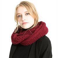 M1742 крученый трикотажный шарф Бордовый цвет