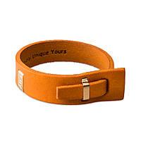 Кожаный браслет на руку LUY n-2-one-6 жёлтый (фирменная пробковая коробочка в подарок)