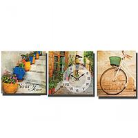 06-301 Часы настенные на холсте 3х секционные Улицы Италии (30*30см 1 секция)