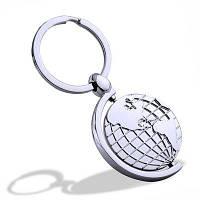 Ротационный металлический глобус Брелки для ключей Творческая личность Серебристый