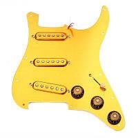 Предварительно заряженные SSS Pickguard Gold Alnico V Пикапы для Strat Guitar Цвет цитруса