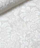 Ткань. Хлопок Дамаск белый на молочном фоне. Отрез 50х40см