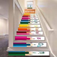 Школа из цветных цветных карандашей Модельный стиль Стикер настенной декорации LTT036 18см x 100см x 6 шт.
