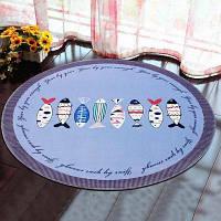 Круглый коврик Главная Декоративный милый узор для лошадей Защитный коврик для текста Pictograph fish1 40x40 см
