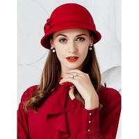 Урожай лук украшен шкурой шлема Faux шерсти Красный