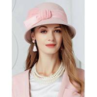 Урожай лента узлом украшена женская шляпа Розовый беж