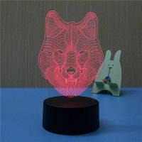 3D Wolf Night Light Plug LED Стерео спальная кровать прикроватная лампа 11.6x10x20.1cm
