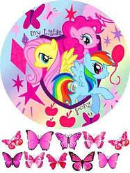 "Вафельна картинка ""Маленькі Поні"", кругла, (аркуш А4)"