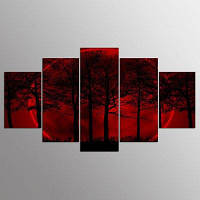 YSDAFEN HD Печатная красная луна Небо на холсте Украшение комнаты Печать Плакат Изображение 30x40cмx2+30x60cмx2+30x80cмx1 (12x16дюймовx2+12x24дюйм