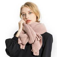 M1749 Вязаный монохромный шерстяной шарф Розовый