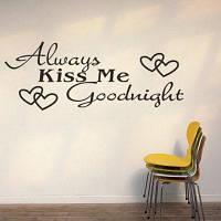 DSU Always Kiss Me LOVE Heart Quotes Виниловые наклейки Стикеры для стен Home Decor Living Room 58x23cс