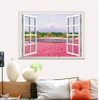 3D Розовые цветы Полноцветные наклейки стены Поддельные окна Декорации Просмотр наклейки на стенах Домашний декор