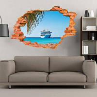 Парусная лодка на море Стены наклейки Морепись на воде Наклейки на стены Главная Декор 60 х 90 см