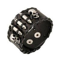 Череп кожаные аксессуары панк широкий кожаный воловьей браслет Чёрный