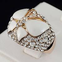 Шикарное кольцо с кристаллами Swarovski, покрытое слоями золота 0712 18 Белый