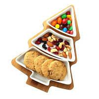 3-в-1 Рождественская елка, обслуживающая лоток, салат Десерт Фруктовые тарелки белый и коричневый