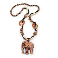 Женская мода ювелирные изделия ручной резной слон древесины бусины подвеска длинное ожерелье колье загар