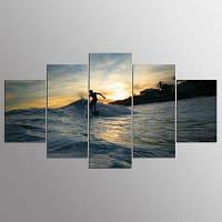 YSDAFEN 5 Панель Современный Серфинг Hd Холст Искусство для гостиной Стена Картина 30x40cмx2+30x60cмx2+30x80cмx1 (12x16дюймовx2+12x24дюйм