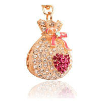 Сплав Lucky Money Кошелек Diamond Key Держатель Сумки для девочек Подвеска Подвеска для автомобилей Креативные подарки розово-красный