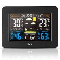 FJ3365 Цифровой цветовой прогноз Погодная станция с предупреждением и температурой / Влажность / Барометр / Тревога / Фаза Луны / Атомные часы с