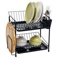 ORZ 2 Tier Dish Rack Plate Drainer Сушилка Полка для чашек Круглая доска для удержания кухонной посуды 44.5 cм x 29.2 cм x 36.5 cм