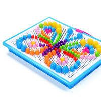 Красочная мозаика Pegboard Nail Jigsaw Game Educational DIY Toys 296PCS Разноцветный