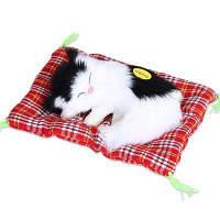 Мягкое симпатичное симуляционное животное Кукла Плюшевые спящие кошки Игрушка со звуком черно-белый