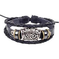 Рисунок Облачный полый узор ручной бисером Браслет Кожаный браслет Этнические украшения Чёрный