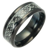 Титановые стальные ювелирные изделия Светящиеся черные светящиеся текстурные кольца Новые флуоресцентные ювелирные изделия 6
