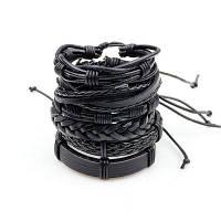 Черные кожаные многослойные брелки для браслетов Punk Wrap Bracelets для женщин и мужчин Чёрный