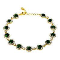 Модный браслет для украшения из зеленого кристалла Золотой
