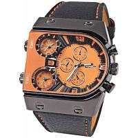 Oulm военные спортивные часы несколько часовых поясов Кожаный ремешок Кварцевые наручные часы для мужчин Оранжевый
