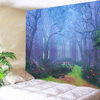 Лесной цветочный путь Печать Гобелен Настенный декор ширина59дюймов*длина51дюйм