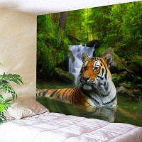 Лесной тигр Печать Гобелен Настенный висячий декор W79 дюймов * L71 дюйм