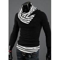 Мужской свитер из смески хлопка с воротником хомутом в полоску с длинным рукавом в повседневном стиле 2XL