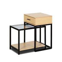 Стол для столешницы стола 2-PIECE с закаленным стеклом с выдвижным ящиком Жёлтый и чёрный