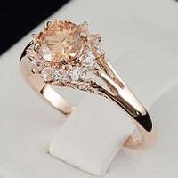 Прелестное кольцо с кристаллами Swarovski, покрытое слоями золота 0713