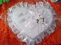 Свадебная подушка под кольца № 1 (белое сердце)