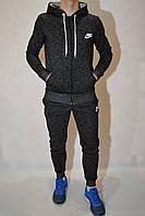 (размеры:44,46,48) Мужской спортивный костюм с начёсом NIKE (найк) - с капюшоном - чёрный