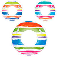 BW Круг 36010 (24шт) полосатый, 3 цвета, 91см, ручка 2шт, в кульке, 26,5-15см