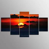 YSDAFEN 5 Панель Современные Красные Облака Близко к Море Искусство Холста для Гостиной 30x40cмx2+30x60cмx2+30x80cмx1 (12x16дюймовx2+12x24дюйм