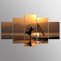 YSDAFEN 5 Панели современного искусства холмов Мьянмы для гостиной 30x40cмx2+30x60cмx2+30x80cмx1 (12x16дюймовx2+12x24дюйм