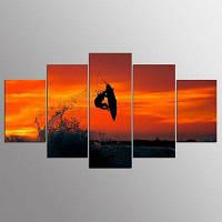 YSDAFEN 5 Панель Современный серфинг Закат Искусство холста для гостиной Стена Картина 30x40cмx2+30x60cмx2+30x80cмx1 (12x16дюймовx2+12x24дюйм