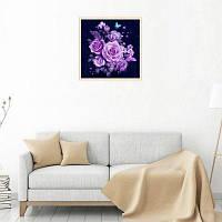 Naiyue 6342 Розы Print Draw Алмазный рисунок Черный Фиолетовый
