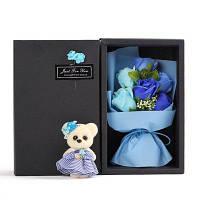 6Pcs Box Романтическое розовое мыло с маленькой милой медвежью куклой для Дня святого Валентина Свадебный подарок на день рождения Синий