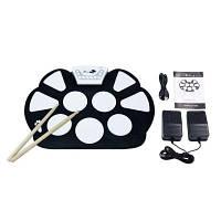 Электронный набор барабанов с барабанными палочками Roll Up Складной стиль Silicon Pad черно-белый