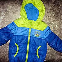 Куртка для  годовалого мальчика на рост 80 см демисезонная на синтапоне с флисовой подкладкой